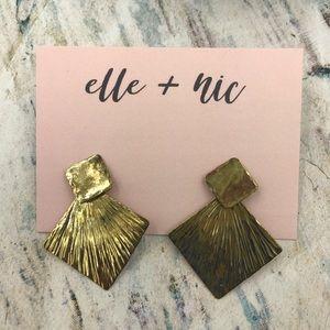 Gold Plated Double Fan Stud Earrings